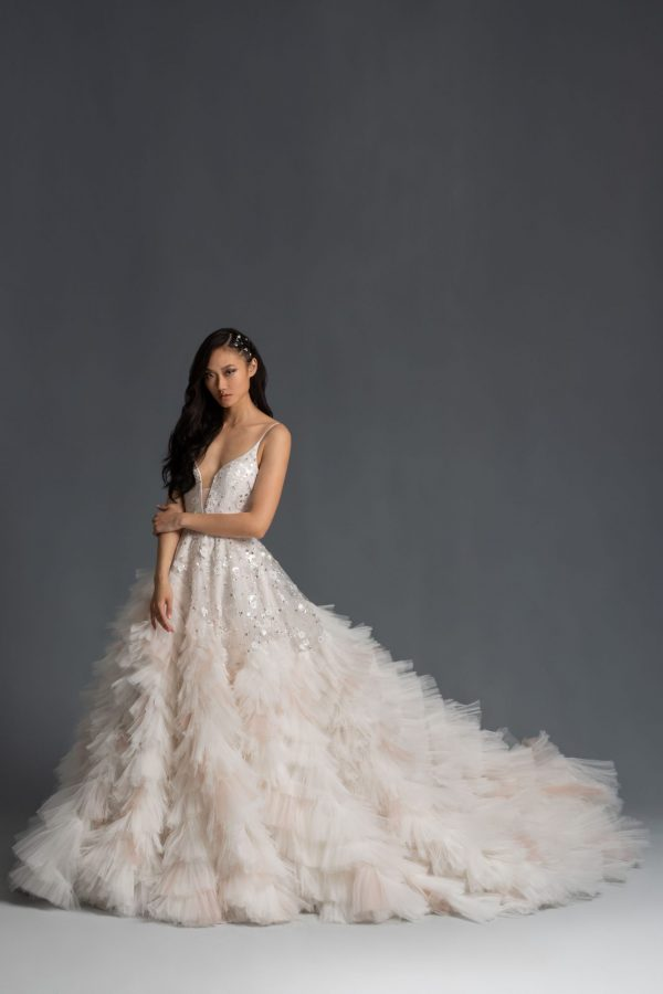 Spaghetti Strap Textured Ball Gown Wedding Dress by Hayley Paige - Image 1