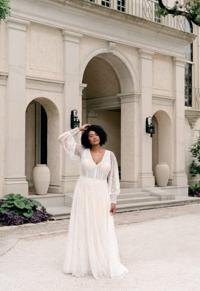 Sparkling Boho-Inspired Wedding Dress With Bell Sleeves by Martina Liana