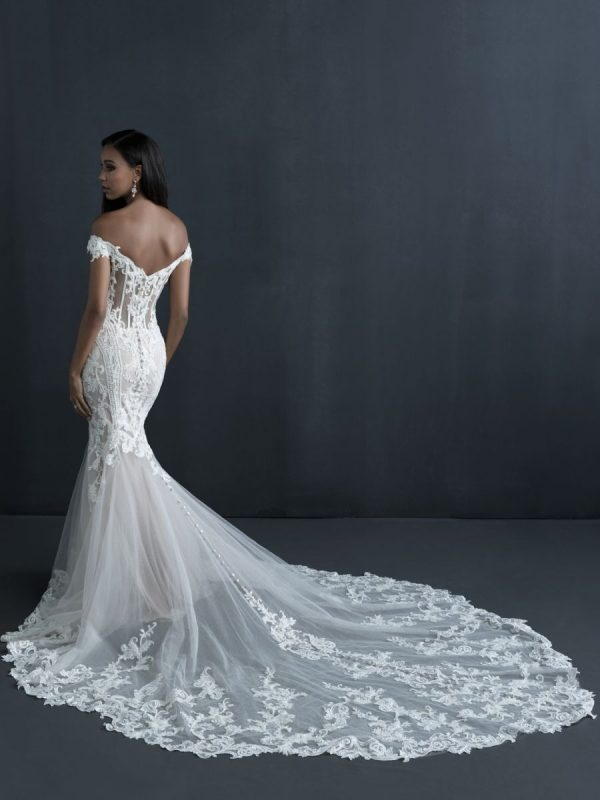 Off The Shoulder Sheath Wedding Dress With Beaded Bodice And Train by Allure Bridals - Image 2