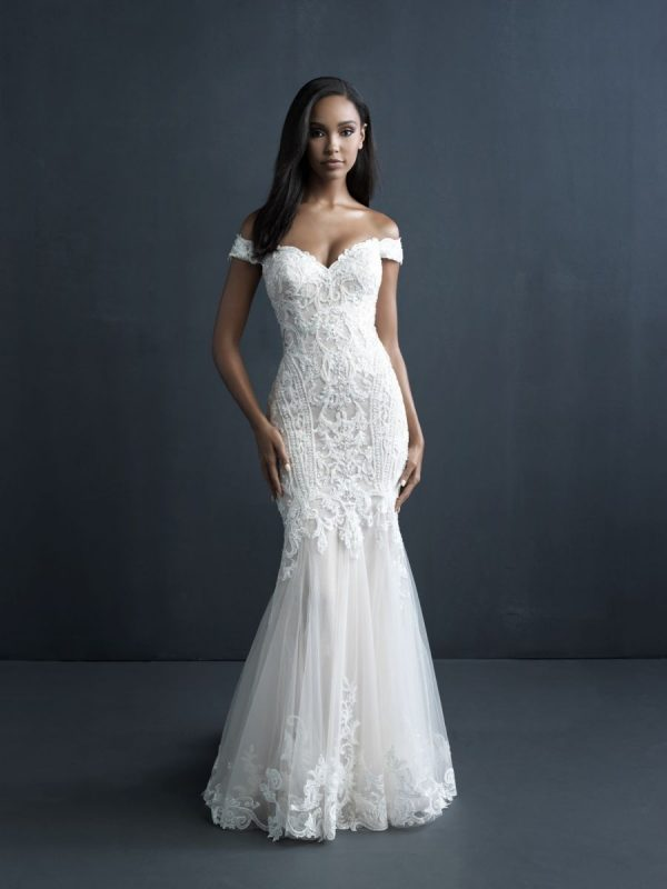 Off The Shoulder Sheath Wedding Dress With Beaded Bodice And Train by Allure Bridals - Image 1