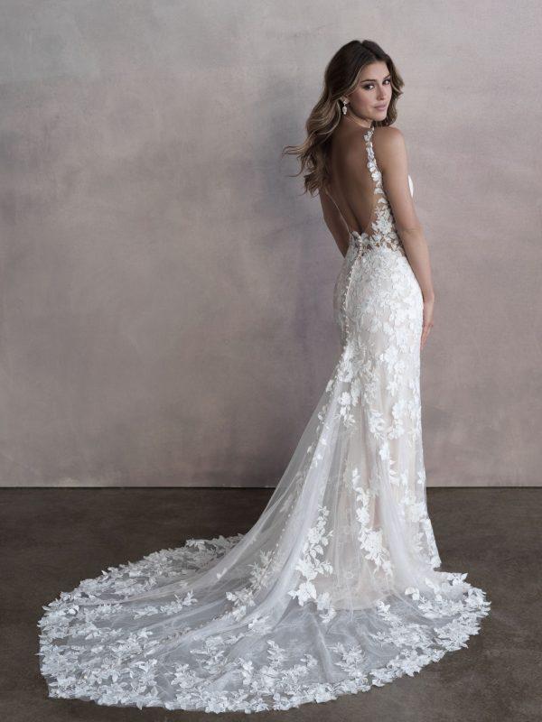 Sleeveless V-neckline Lace Sheath Wedding Dress by Allure Bridals - Image 2