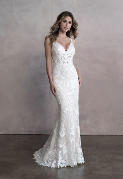 Sleeveless V-neckline Lace Sheath Wedding Dress by Allure Bridals