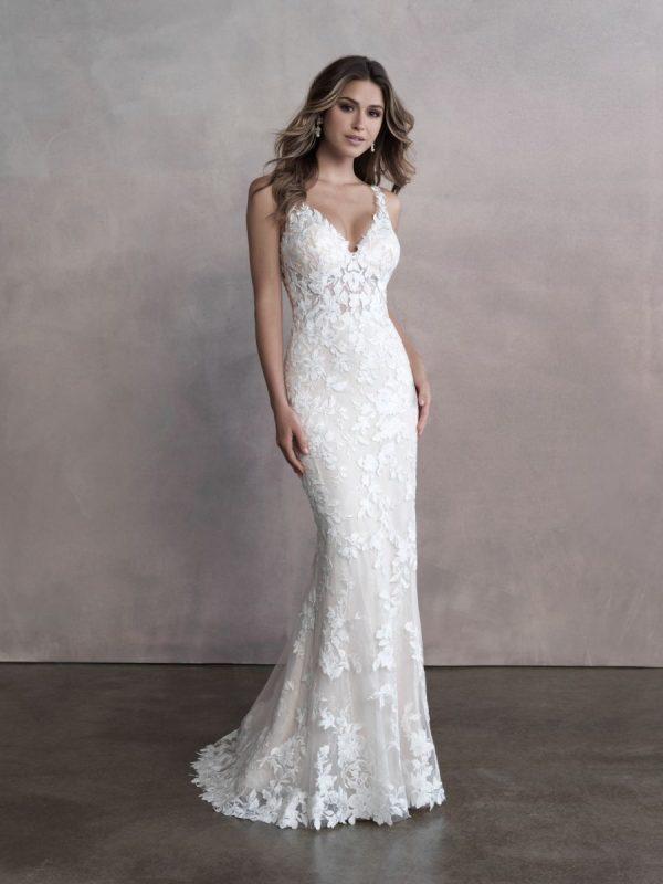 Sleeveless V-neckline Lace Sheath Wedding Dress by Allure Bridals - Image 1