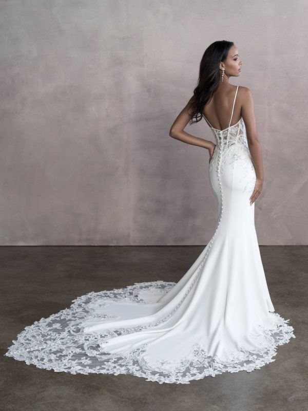 Spaghetti Strap Simple Sheath Wedding Dress With Cut Outs by Allure Bridals - Image 2