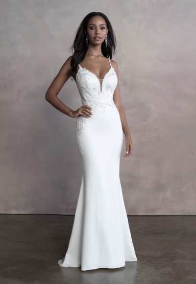 Spaghetti Strap Simple Sheath Wedding Dress With Cut Outs by Allure Bridals
