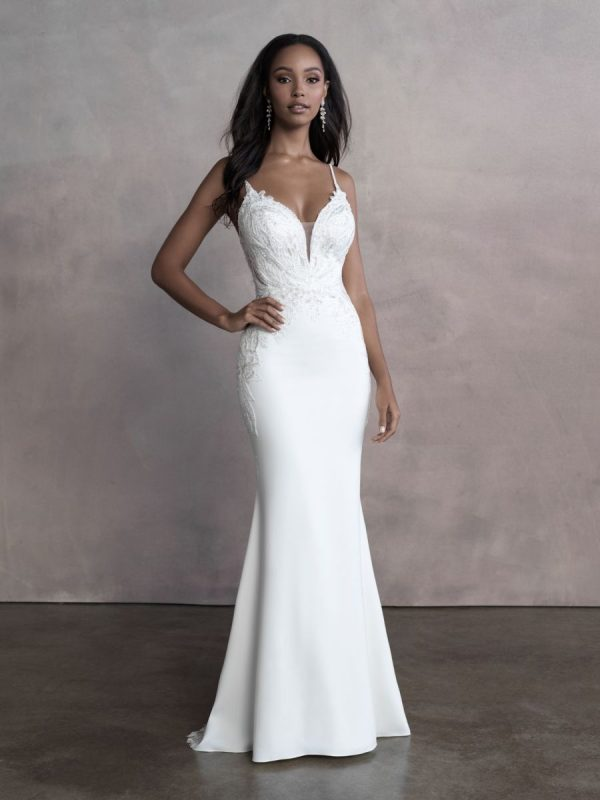 Spaghetti Strap Simple Sheath Wedding Dress With Cut Outs by Allure Bridals - Image 1