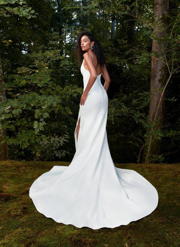 Spaghetti Strap V-neckline Sheath Wedding Dress With Slit by Anne Barge - Image 2
