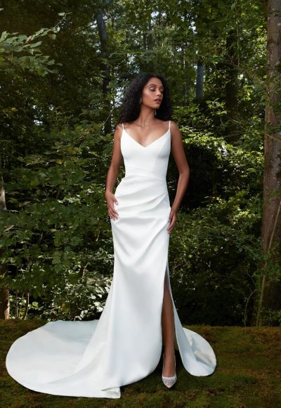 Spaghetti Strap V-neckline Sheath Wedding Dress With Slit by Anne Barge