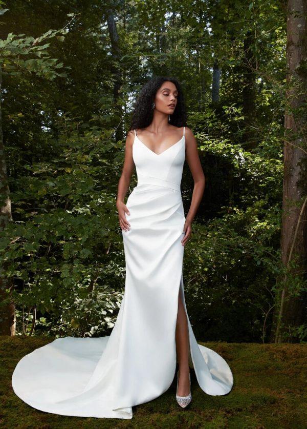 Spaghetti Strap V-neckline Sheath Wedding Dress With Slit by Anne Barge - Image 1