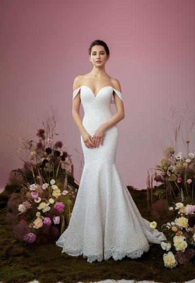 Strapless Mermaid Lace Wedding Dress by Anne Barge