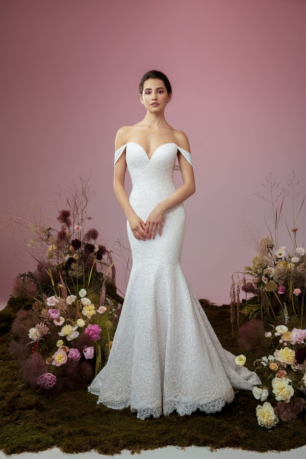 Strapless Mermaid Lace Wedding Dress by Anne Barge - Image 1