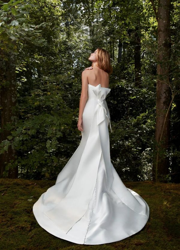 Strapless Silk Draped Fit And Flare Wedding Dress by Anne Barge - Image 2