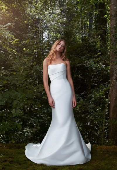 Strapless Silk Draped Fit And Flare Wedding Dress by Anne Barge