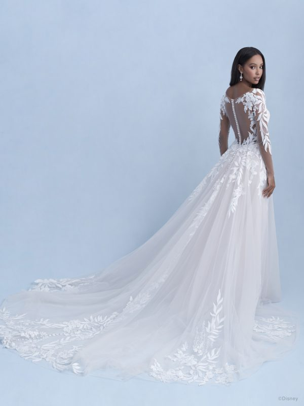 3/4 Sleeve Sweetheart A-line Lace Wedding Dress With Illusion Sleeves And Lace Train by Disney Fairy Tale Weddings Collection - Image 2