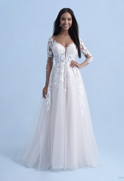 3/4 Sleeve Sweetheart A-line Lace Wedding Dress With Illusion Sleeves And Lace Train by Disney Fairy Tale Weddings Collection