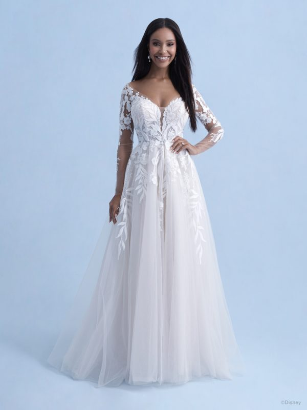 3/4 Sleeve Sweetheart A-line Lace Wedding Dress With Illusion Sleeves And Lace Train by Disney Fairy Tale Weddings Collection - Image 1