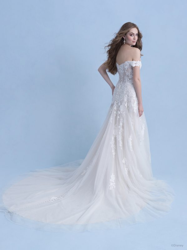 Cap Sleeve Off The Shoulder A-line Wedding Dress With Sequined Lace by Disney Fairy Tale Weddings Collection - Image 2