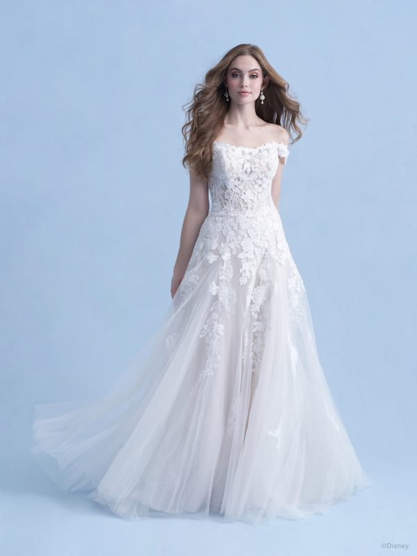 Cap Sleeve Off The Shoulder A-line Wedding Dress With Sequined Lace by Disney Fairy Tale Weddings Collection - Image 1