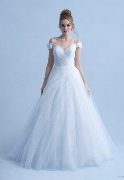 Cap Sleeve Off The Shoulder Ball Gown Wedding Dress With Beaded Bodice And Tulle Sparkle Skirt by Disney Fairy Tale Weddings Collection