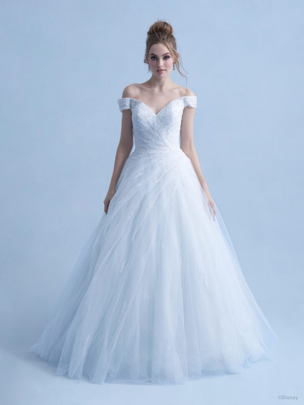 Cap Sleeve Off The Shoulder Ball Gown Wedding Dress With Beaded Bodice And Tulle Sparkle Skirt by Disney Fairy Tale Weddings Collection - Image 1