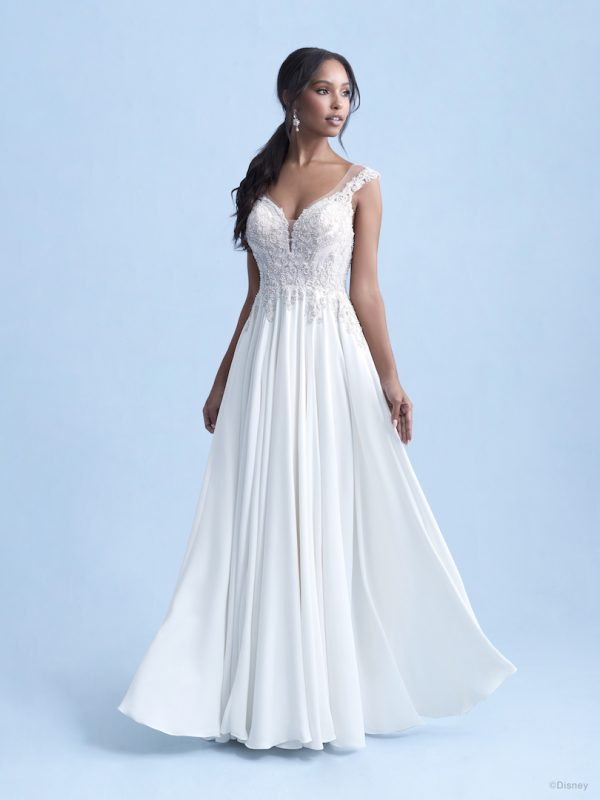 Cap Sleeve Sweetheart A-line Wedding Dress With Beaded Bodice And Crepe Chiffon Skirt by Disney Fairy Tale Weddings Collection - Image 1