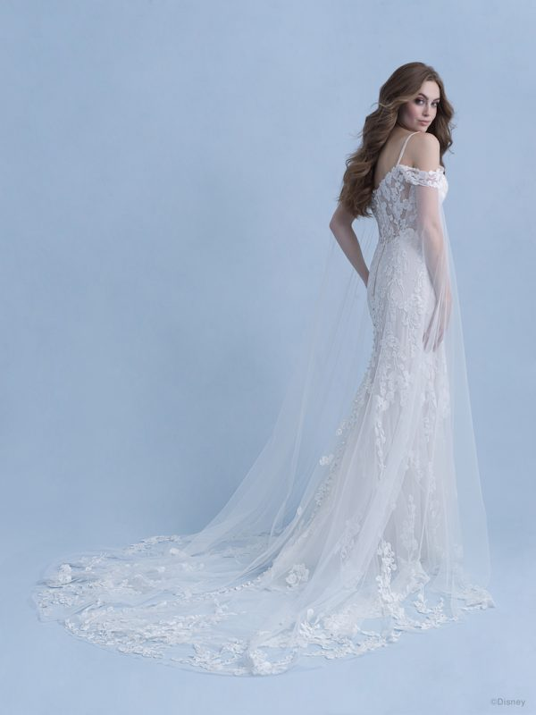 Cold Shoulder Sheath Wedding Dress With Beaded Spaghetti Straps And Lace Applique by Disney Fairy Tale Weddings Collection - Image 2