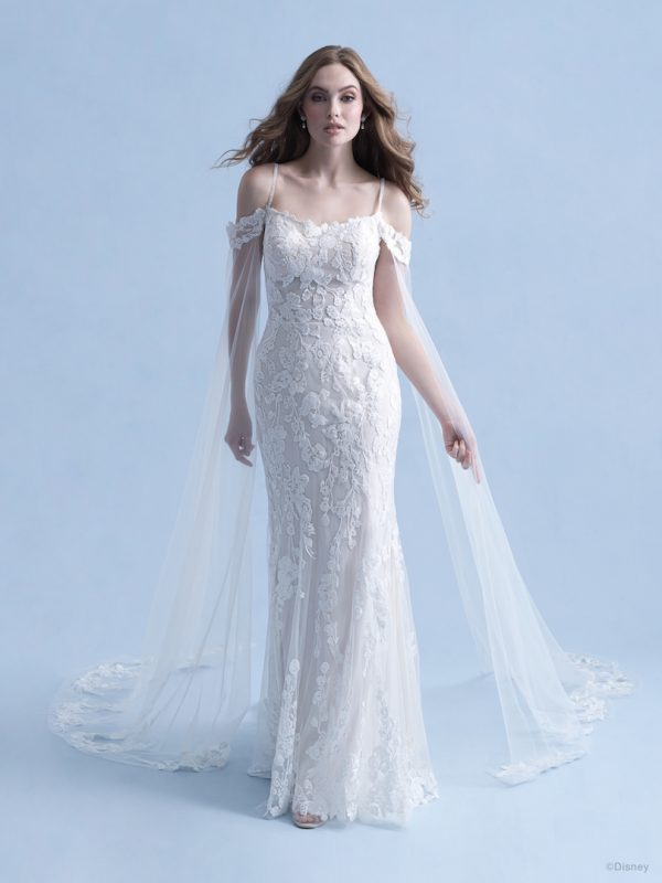 Cold Shoulder Sheath Wedding Dress With Beaded Spaghetti Straps And Lace Applique by Disney Fairy Tale Weddings Collection - Image 1