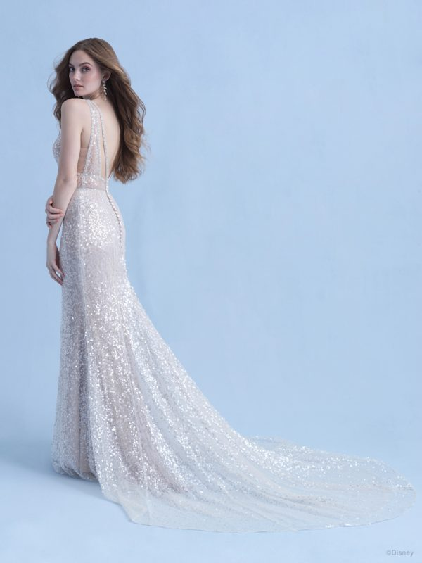 Sleeveless V-neckline Sheath Wedding Dress With All Over Iridescent Sequin Fabric by Disney Fairy Tale Weddings Collection - Image 2