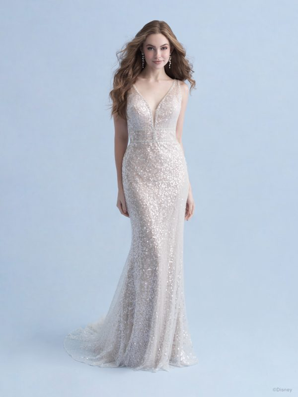 Sleeveless V-neckline Sheath Wedding Dress With All Over Iridescent Sequin Fabric by Disney Fairy Tale Weddings Collection - Image 1
