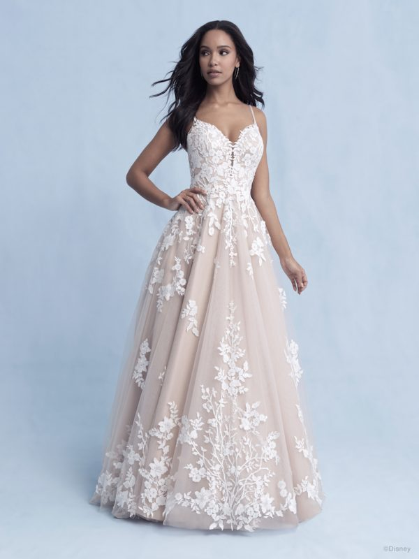 Spaghetti Strap V-neckline Ball Gown Wedding Dress With Embroidered Floral Applique by Disney Fairy Tale Weddings Collection - Image 1