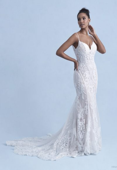 Spaghetti Strap V-neckline Sheath Wedding Dress With Sequin And Beaded Lace by Disney Fairy Tale Weddings Collection