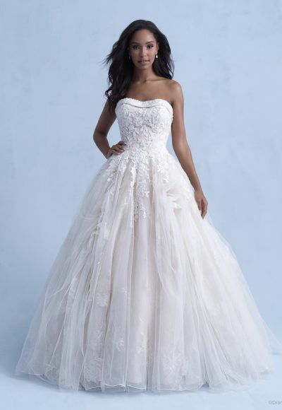 Strapless Ball Gown Wedding Dress With Tulle Skirt Beading Throughout by Disney Fairy Tale Weddings Collection