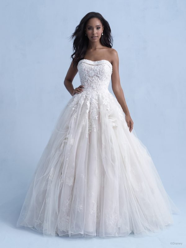 Strapless Ball Gown Wedding Dress With Tulle Skirt Beading Throughout by Disney Fairy Tale Weddings Collection - Image 1