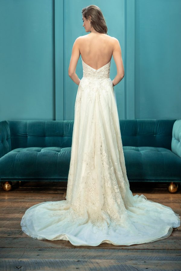 Strapless Sweetheart Neckline Embroidered A-line Ball Gown Wedding Dress by Enaura Bridal - Image 2