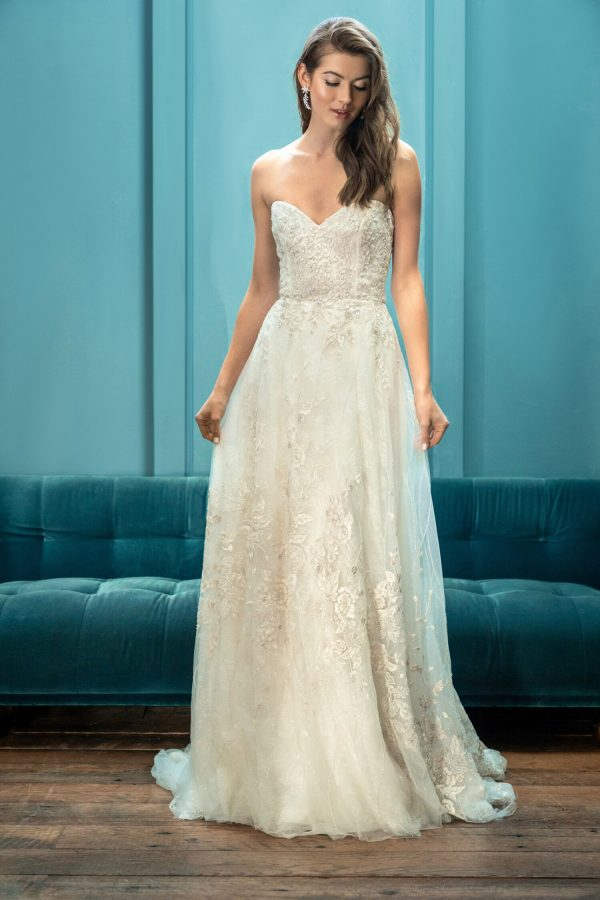 Strapless Sweetheart Neckline Embroidered A-line Ball Gown Wedding Dress by Enaura Bridal - Image 1