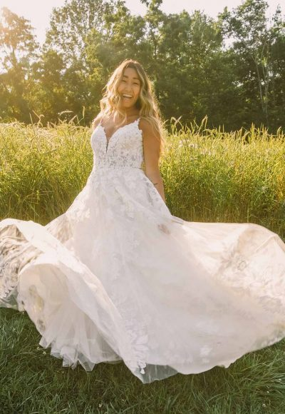 Classic A-line Plus Size Wedding Dress With Sparkling Lace by Essense of Australia