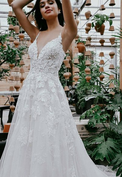 Classic A-line Wedding Dress With Sparkling Lace by Essense of Australia