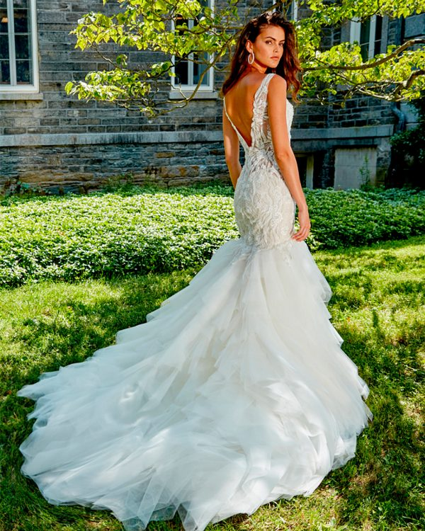 SLEEVELESS V-NECK HAND BEADED LACE FIT AND FLARE WEDDING DRESS by Eve of Milady - Image 2