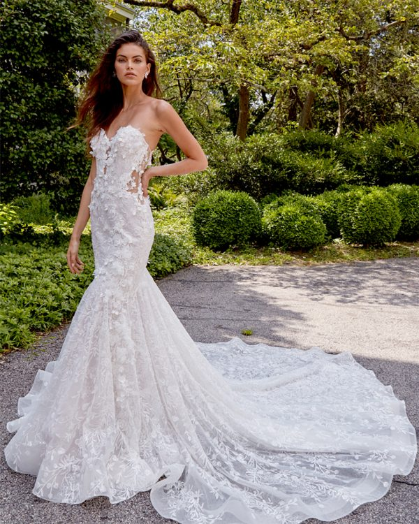 Strapless 3D Floral Fit And Flare Wedding Dress by Eve of Milady - Image 1