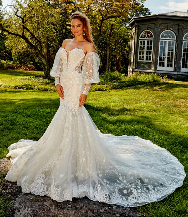 STRAPLESS BEADED AND EMBROIDERED FIT AND FLARE PLUS SIZE WEDDING DRESS by Eve of Milady - Image 1