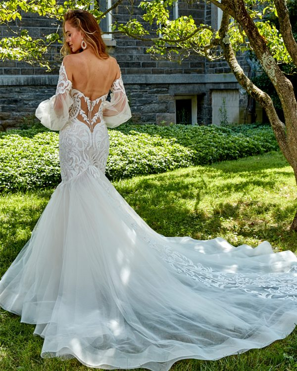 Strapless Beaded Lace Fit And Flare Wedding Dress by Eve of Milady - Image 2