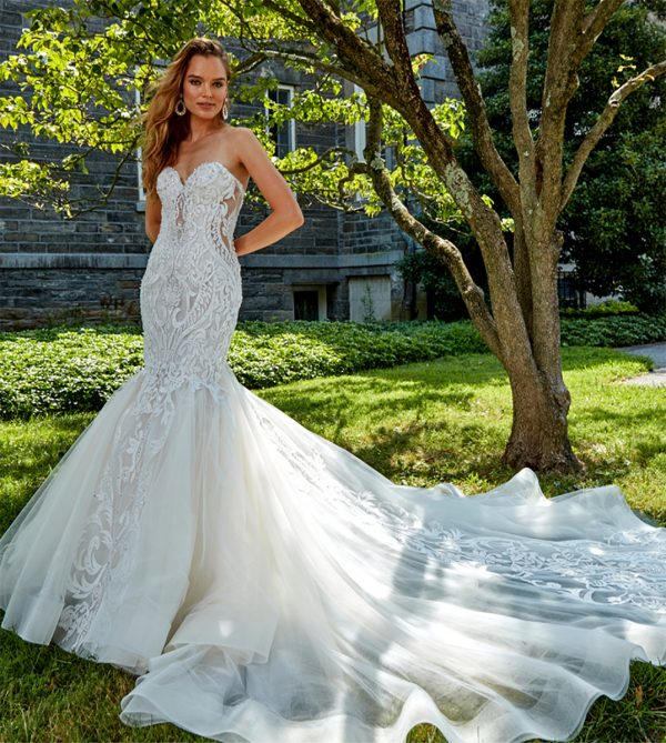 Strapless Beaded Lace Fit And Flare Wedding Dress by Eve of Milady - Image 1