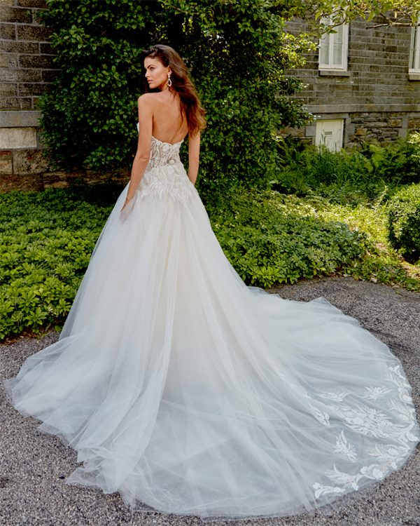 Strapless Sweetheart Neckline Hand Beaded Bodice A-line Tulle Skirt Wedding Dress by Eve of Milady - Image 2