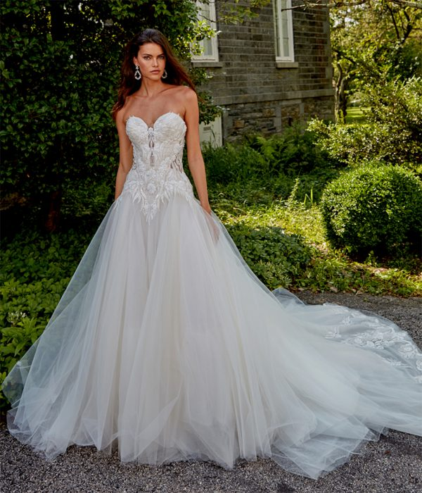 Strapless Sweetheart Neckline Hand Beaded Bodice A-line Tulle Skirt Wedding Dress by Eve of Milady - Image 1