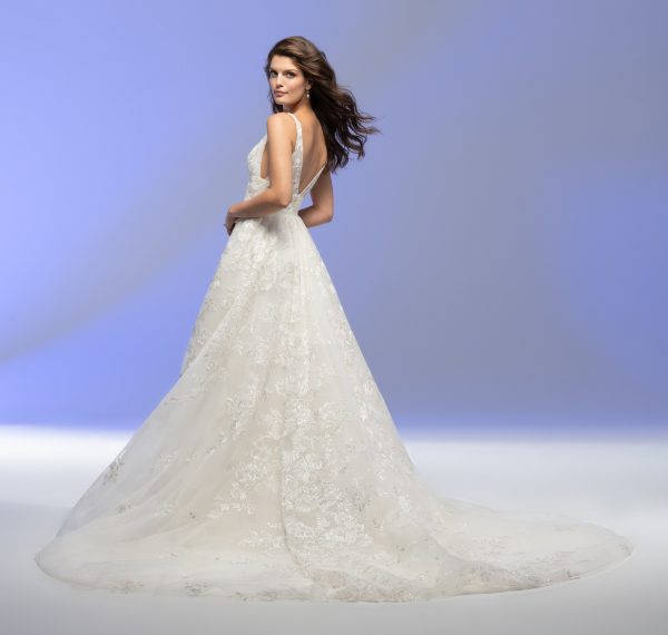 Sleeveless V-neck A-line Floral Embroidered Wedding Dress by Lazaro - Image 2