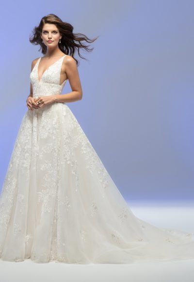 Sleeveless V-neck A-line Floral Embroidered Wedding Dress by Lazaro