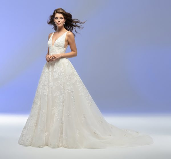 Sleeveless V-neck A-line Floral Embroidered Wedding Dress by Lazaro - Image 1