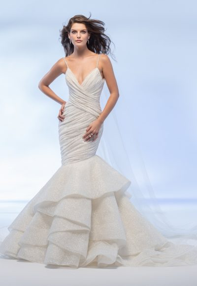 Spaghetti Strap Sweetheart Neckline Shimmer Fit And Flare Wedding Dress With Layered Skirt by Lazaro