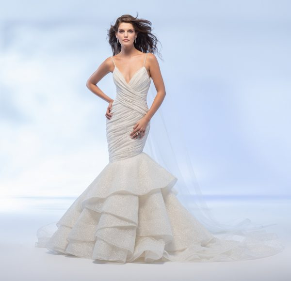Spaghetti Strap Sweetheart Neckline Shimmer Fit And Flare Wedding Dress With Layered Skirt by Lazaro - Image 1