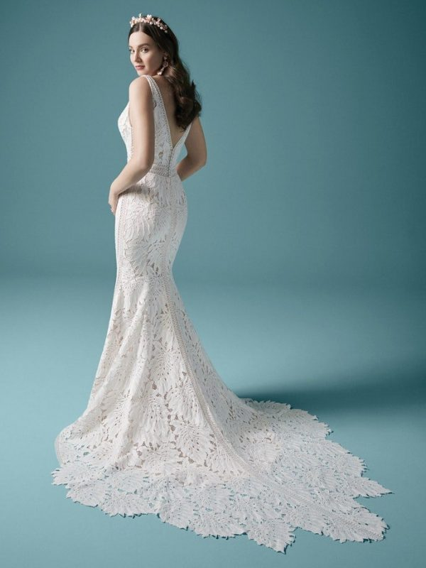 Sleeveless V-neckline Lace Fit And Flare Wedding Dress by Maggie Sottero - Image 2